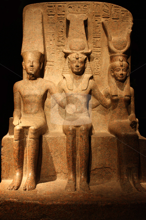 Statue of Ramesses II with Amun and Hathor - front view