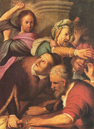 Rembrandt-Gesù-mercanti-tempio