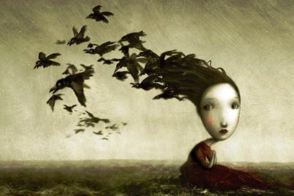 surreal-bambina-uccelli