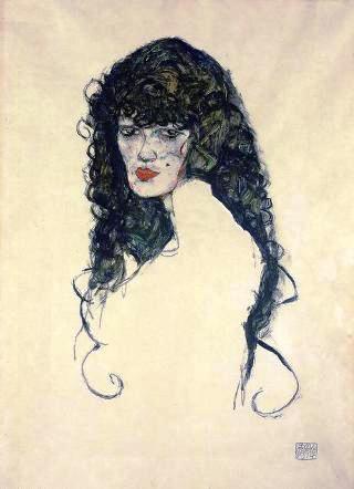 Egon Schiele-donna-capelli-neri