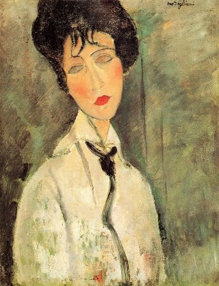 Portrait of a woman with a black tie by Modigliani.jpg