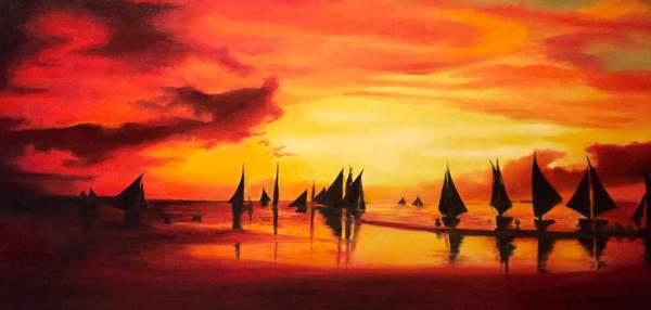cielo-rosso-barche