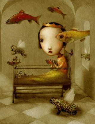 surreal-bambina-rana-pesci
