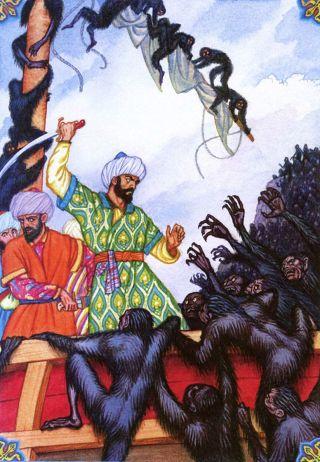 Sindbad-scimmie-assalto