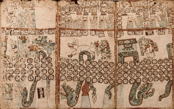Close view of the Madrid Codex, an of almanac for Maya priests.