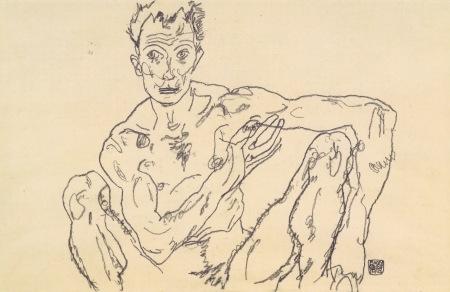 Egon Schiele-autoritratto-disegno