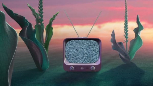 old tv in surreal nature